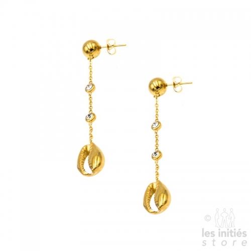 Boucles d'oreilles pendantes coquillages strass Les Initiés dorées
