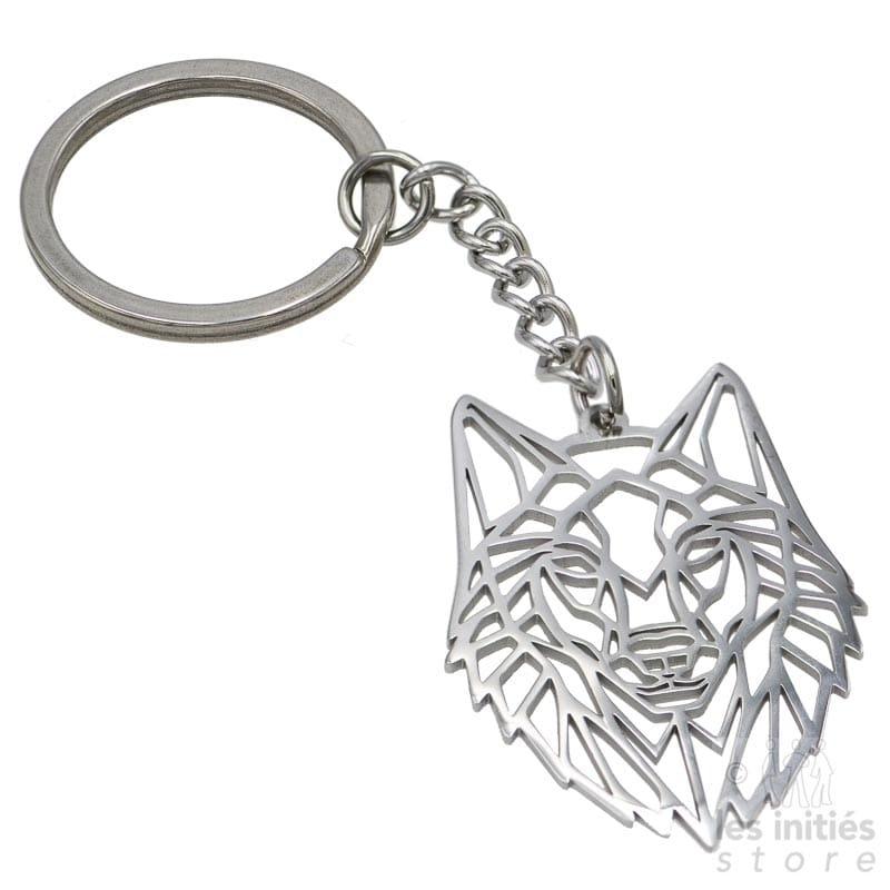 Les Initiés wolf keychain - steel