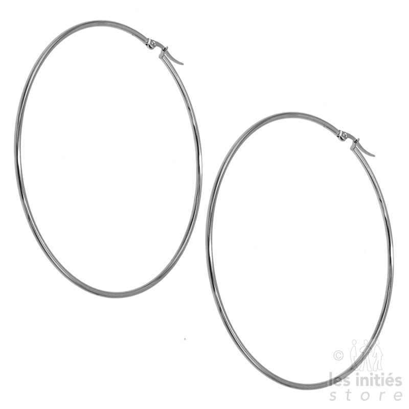 Les Initiés maxi hoop earrings 8.4 cm - 0.2 cm - Steel