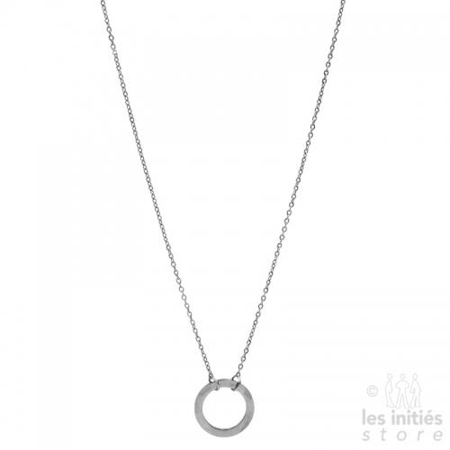 Collier anneau Les Initiés 1,8 cm acier