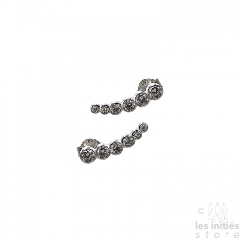 silver rhinestones earrings