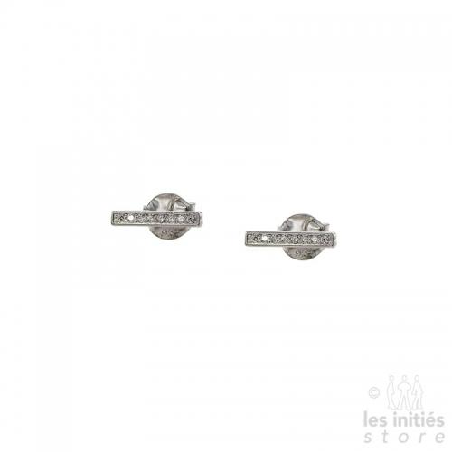 Boucles d'oreilles barettes strass Les Initiés - Argent 925