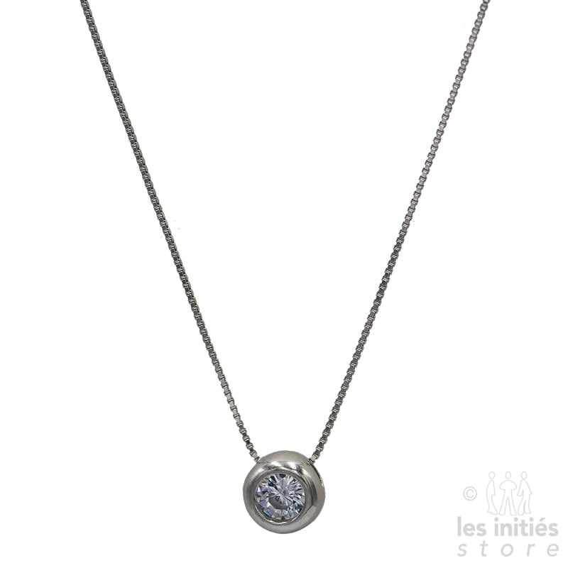 Les Initiés rhinestones-set bead silver necklace - 925 Sterling Silver