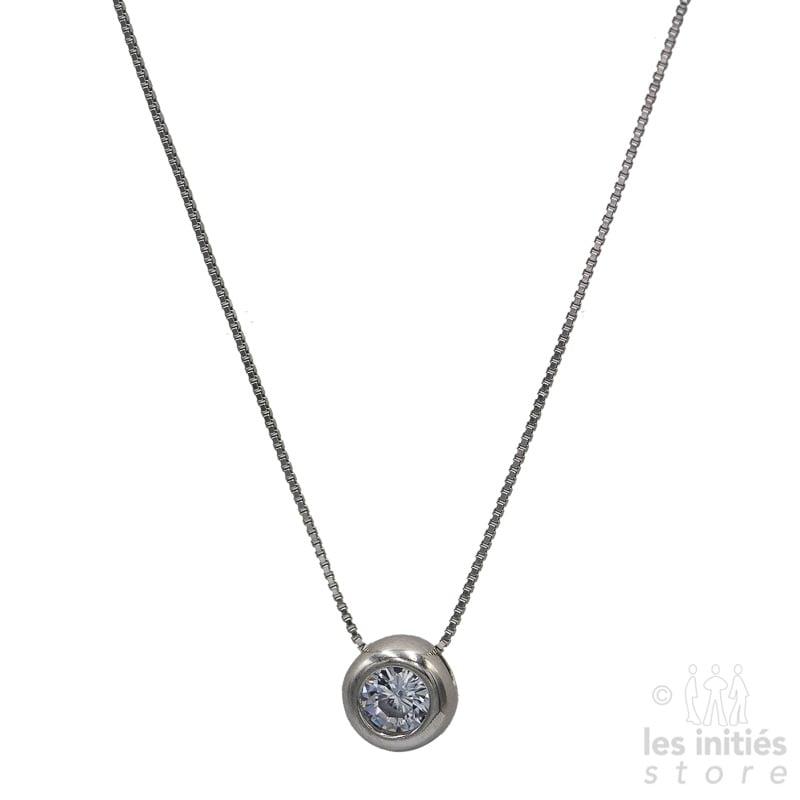 Les Initiés rhinestones-set bead silver necklace - 925 Sterling Silver