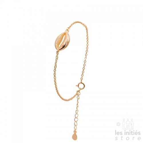 gold pink shell bracelet