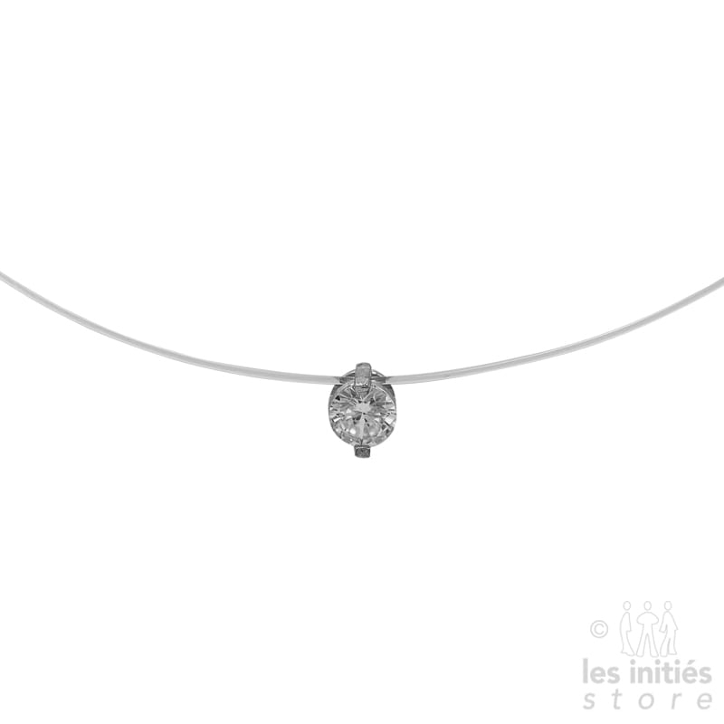 Les Initiés rhinestones transparent thread necklace - 925 Sterling Silver