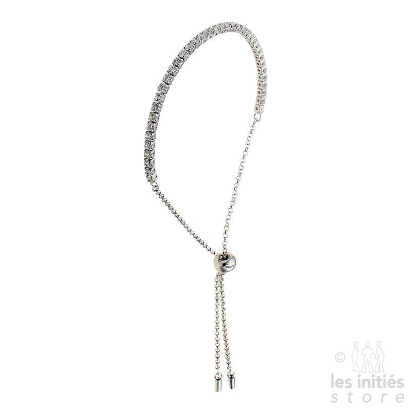 Bracelet rangée de strass argent