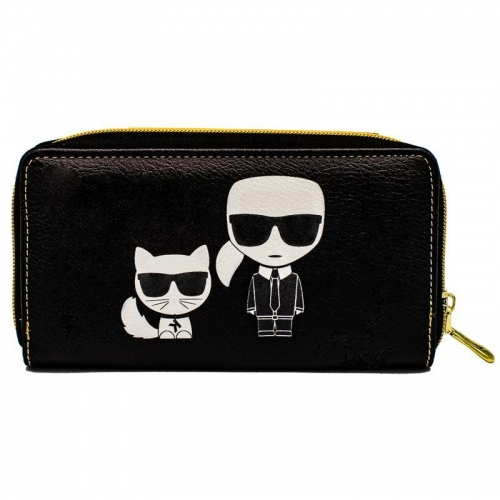 Designer with his cat wallet - black