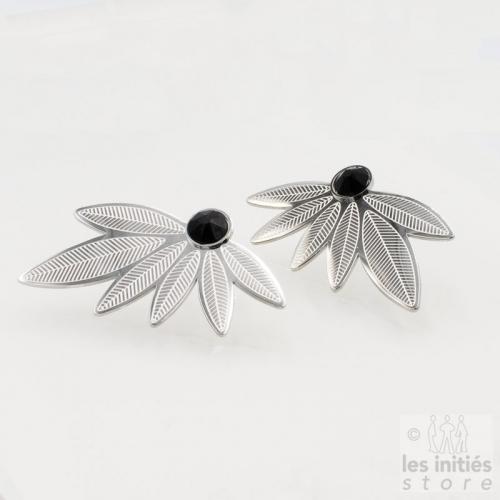 Boucles d'oreilles Les Initiés feuilles cristal noir Swarovski - acier