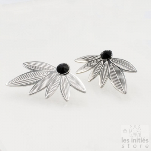 Les Initiés black Swarovski crystal leaves earrings - Steel