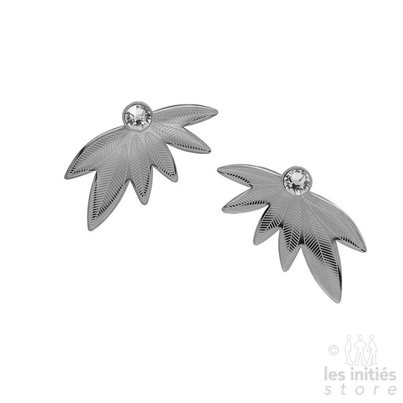 Boucles d'oreilles Les Initiés feuilles cristal blanc Swarovski - acier