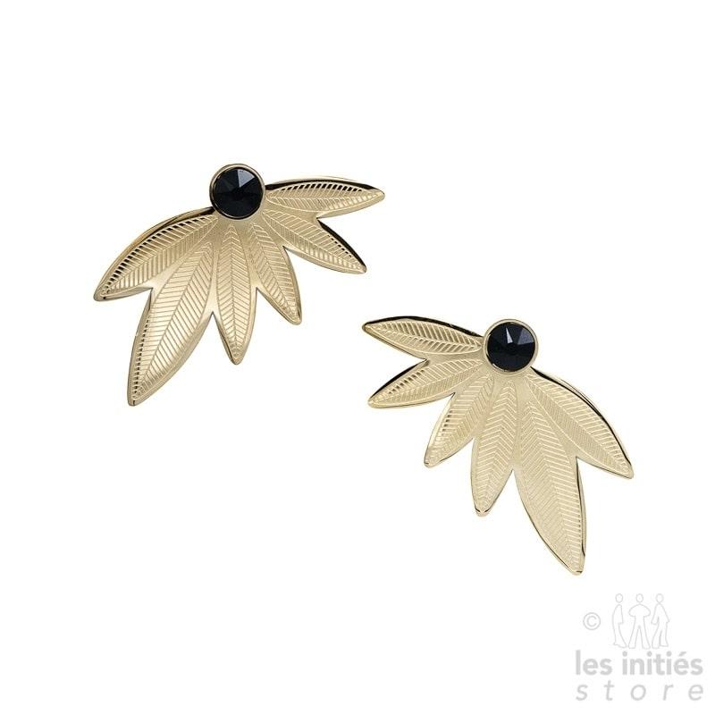 Boucles d'oreilles Les Initiés feuilles cristal noir Swarovski - doré
