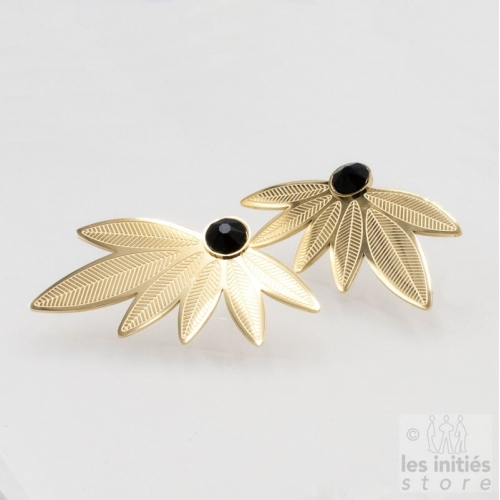black Swarovski gold earrings
