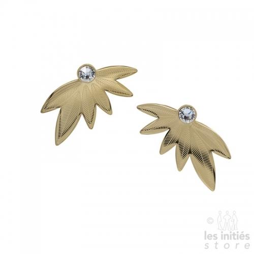 Boucles d'oreilles Les Initiés feuilles cristal blanc Swarovski - doré