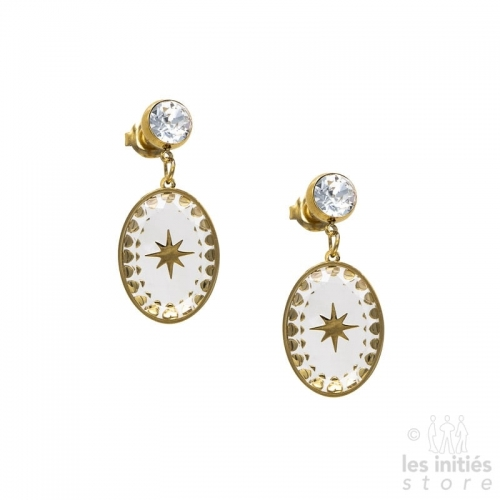 Les Initiés Swarovski white crystal stars earrings - gold