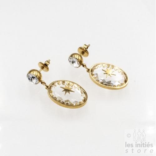 Boucles d'oreilles Les Initiés cristal blanc étoile Swarovski - doré
