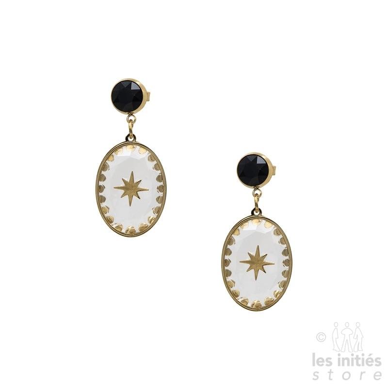 Boucles d'oreilles Les Initiés cristal noir étoile Swarovski - doré