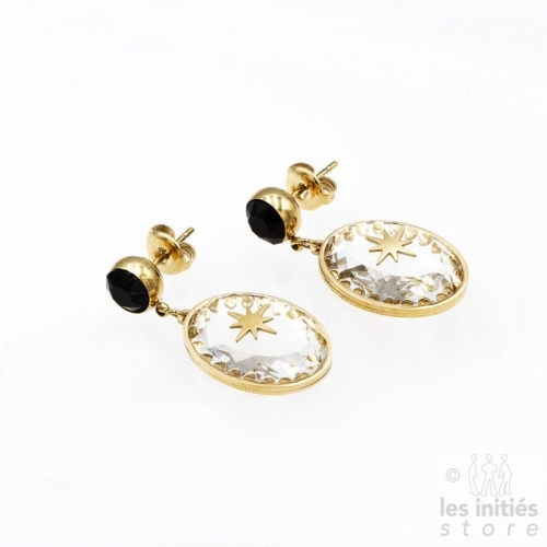 Les Initiés Swarovski black crystal stars earrings - Gold