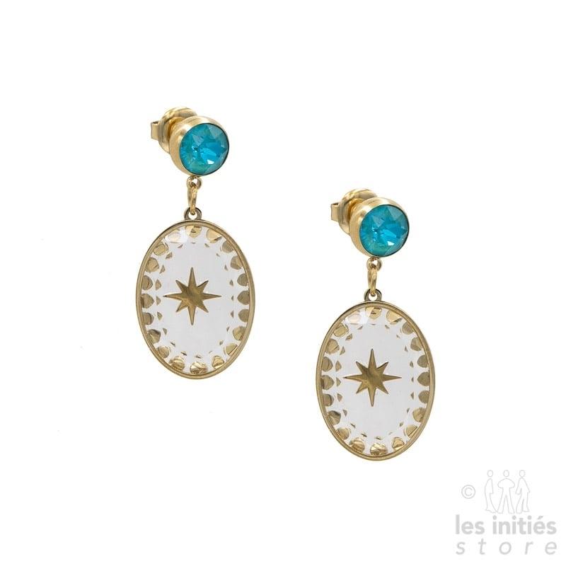 Boucles d'oreilles Les Initiés cristal turquoise étoile Swarovski - doré