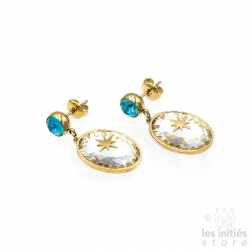 Les Initiés Swarovski turquoise crystal stars earrings - Gold