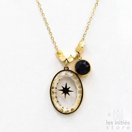 Collier étoile cristal Swarovski noir - doré