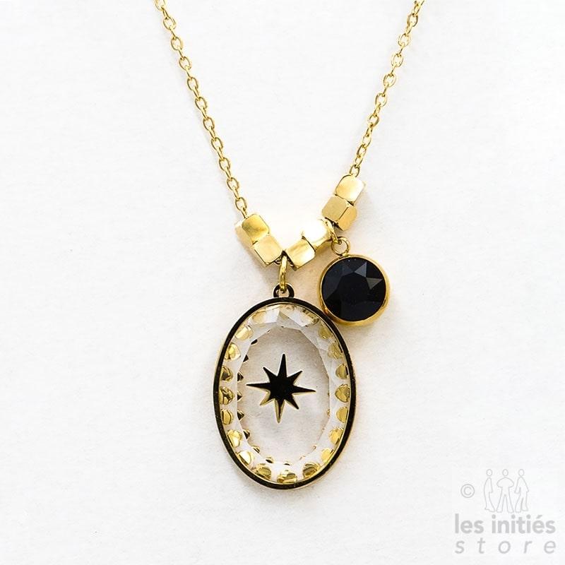 Collier Les Initiés étoile cristal Swarovski noir - doré