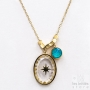 Les Initiés turquoise Swarovski crystal star necklace - gold