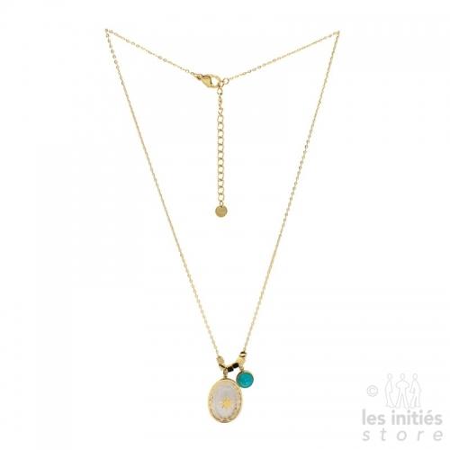 Collier Les Initiés étoile cristal Swarovski turquoise - doré
