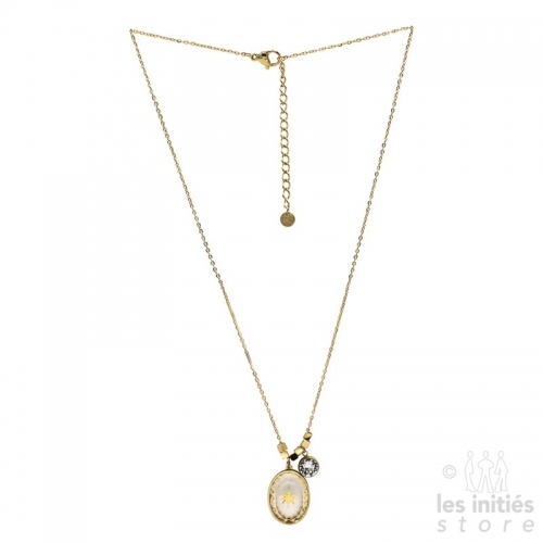Les Initiés white Swarovski crystal star necklace - gold