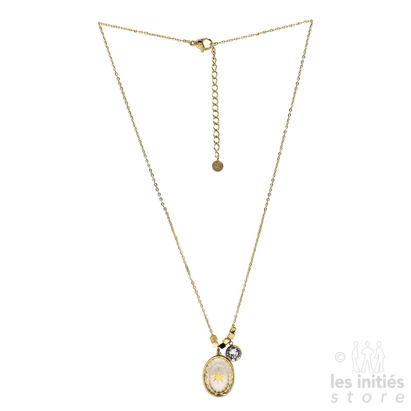 Les Initiés white Swarovski crystal star necklace - gold