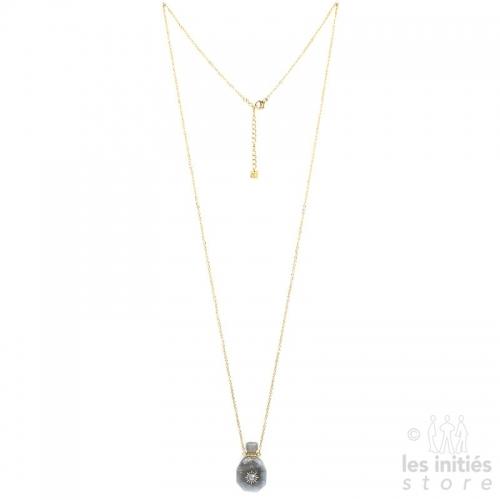 Collier Les Initiés fiole pierre naturelle et cristal Swarovski - Jade serpentine