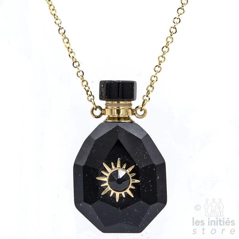 Les Initiés necklace natural stone vial and Swarovski crystal - Black Onyx