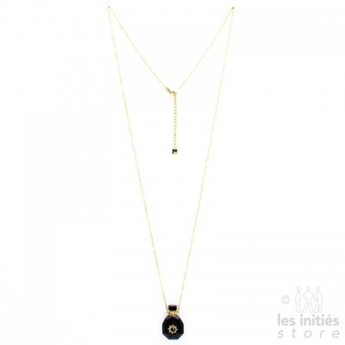Collier Les Initiés fiole pierre naturelle et cristal Swarovski - onyx noir