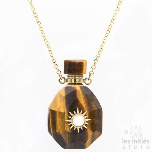 Les Initiés necklace natural stone vial and Swarovski crystal - Tiger eye