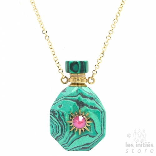 Les Initiés necklace natural stone vial and Swarovski crystal - Turquoise malachite