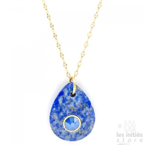 Les Initiés lapis lazuli natural blue stone necklace - Swarovski crystal