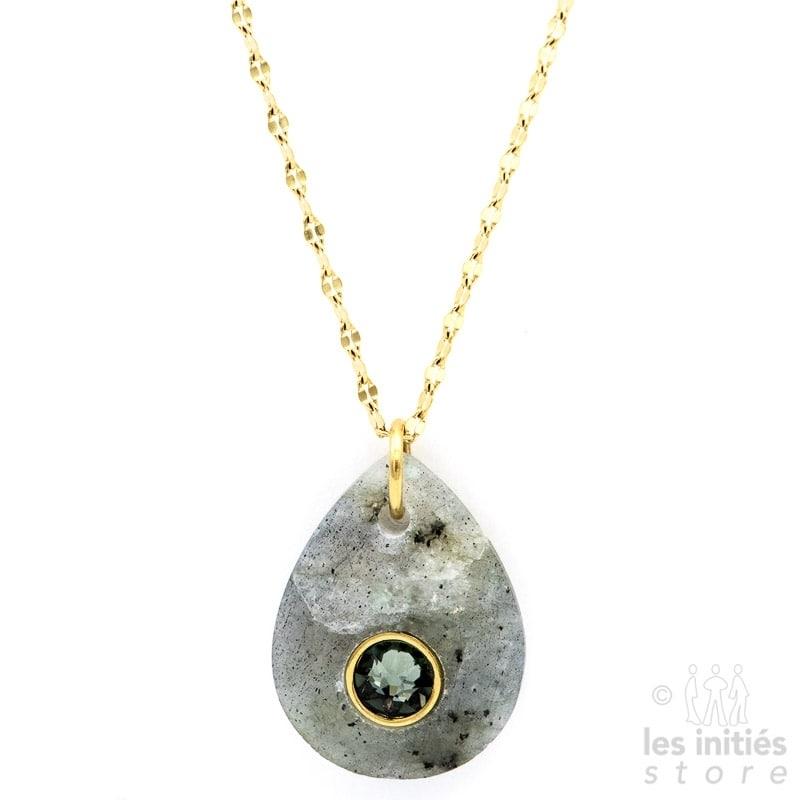 Collier Les Initiés pierre verte naturelle jade serpentine - Cristal Swarovski