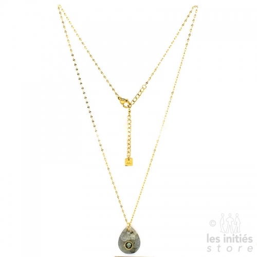 Les Initiés serpentin jade natural green stone necklace - Swarovski crystal