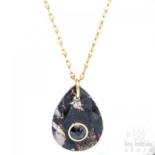 Collier Les Initiés pierre noire naturelle quartz fumé - Cristal Swarovski