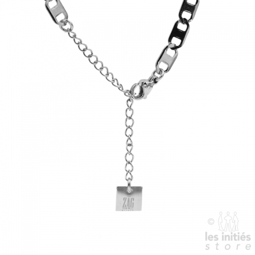 Collier Zag chaîne plate acier