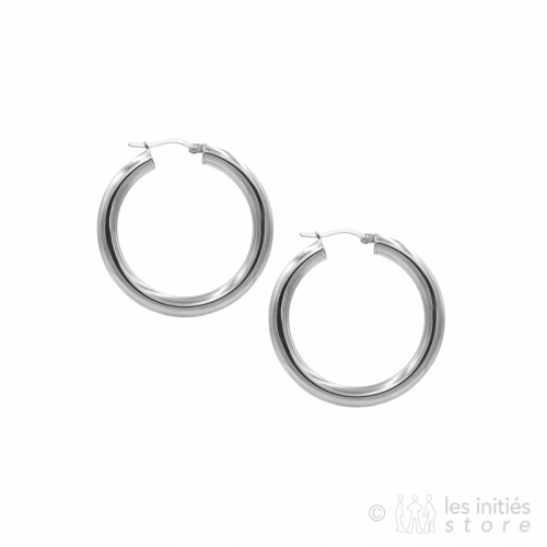 Les Initiés thick hoop earrings 4 cm - 0,5 cm - silver