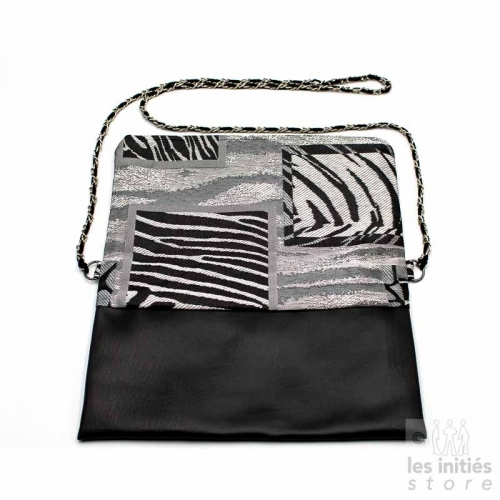 Designer handmade evening clutch bag - Black-grey