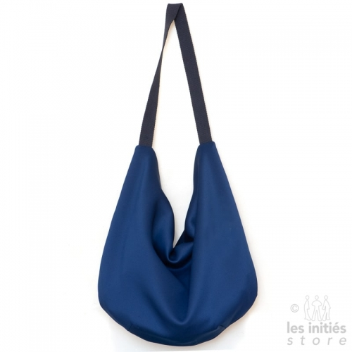 Reversible designer carrier bag with Iris pattern - Blue
