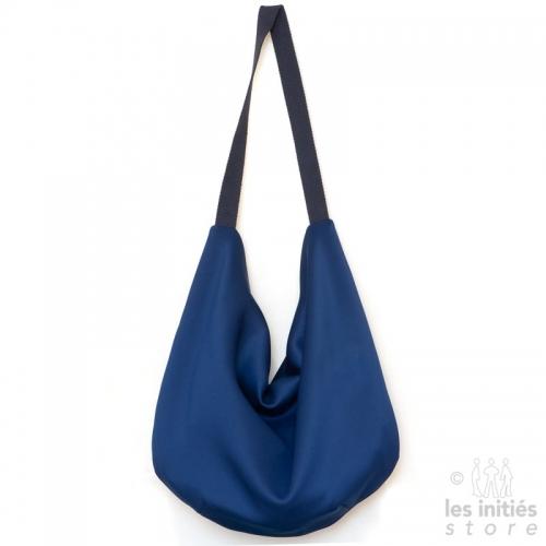 Sac caba réversible de créateur motif Iris - bleu