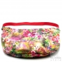 Reversible designer carrier bag with roses pattern - Red
