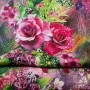 Sac caba réversible de créateur motif roses - Rouge