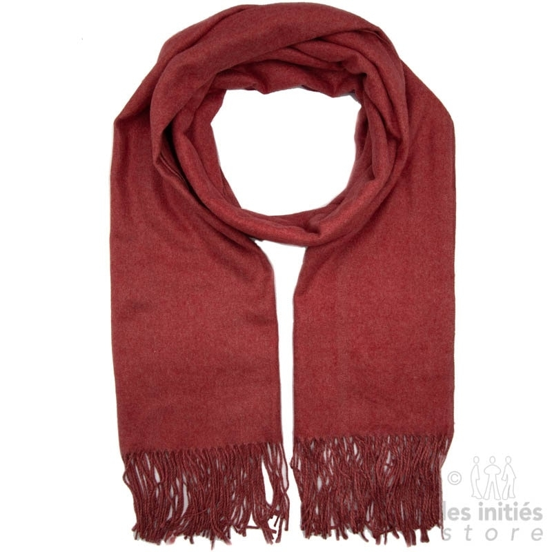 Mottled red cashmere scarf