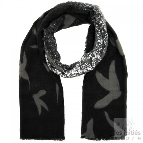 Echarpe mohair imprimé - Noir-gris