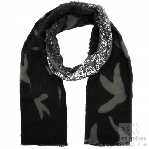 Printed mohair scarf - Black-grey