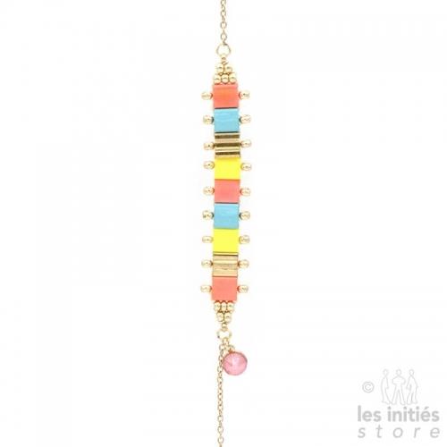 Bracelet  perles miyuki  Rose or jaune bleu